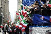 Kids with Italian Flags on float