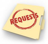 pic of soliciting  - Requests word stamped on a manila folder full of jobs - JPG