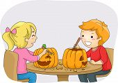 Illustration Featuring a Boy and a Girl Carving Pumpkins