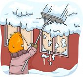 Illustration Featuring a Man Raking Snow Off His Roof
