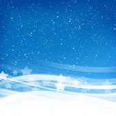 Abstract blue wave holiday background with stars