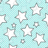 Blue seamless striped background with stars