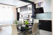 Interior kitchen. Modern kitchen. Parlour