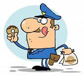 Hungry caucasian Cop seine Lippen lecken und halten ein donut