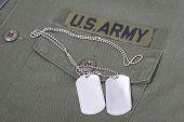 Us Army Uniform Vietnam War Period With Blank Dog Tags