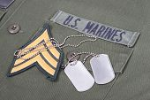 Us Marines Uniform With Blank Dog Tags And Sergeant Rank Patch