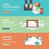 Flat design vector illustration concepts for online communication, social network, strategic communi