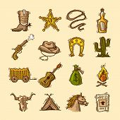 stock photo of wild west  - Wild west cowboy colored sketch icons set with boots badge lasso isolated vector illustration - JPG
