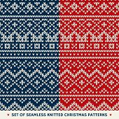 Set Of 2 Winter Holiday Seamless Knitted Patterns