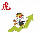 Successful Business Tiger On A Profit Arrow, With A Year Of The Tiger Chinese Symbol