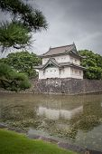 A View looking across the moat around the east Imperial Palace Gardens in Tokyo Japan