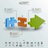 Arrow From Three Pieces Of Puzzle Infographic Background