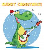 Dinosaur plays guitar with santa hat with merry christmas sign