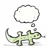 cartoon lizard with thought bubble