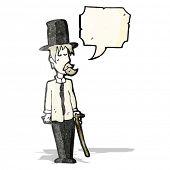 cartoon untidy gentleman with speech bubble