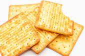stock photo of hardtack  - biscuit isolated on white background closeup snacks - JPG
