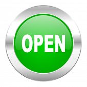 open green circle chrome web icon isolated