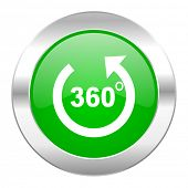 panorama green circle chrome web icon isolated