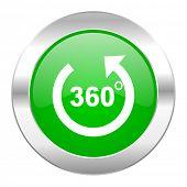 panorama green circle chrome web icon isolated