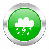 storm green circle chrome web icon isolated