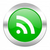 rss green circle chrome web icon isolated