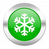 snow green circle chrome web icon isolated