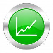chart green circle chrome web icon isolated