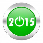 new year 2015 green circle chrome web icon isolated
