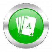 card green circle chrome web icon isolated