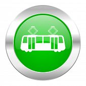 tram green circle chrome web icon isolated