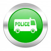 police green circle chrome web icon isolated