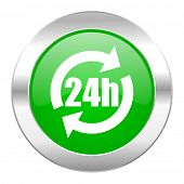 24h green circle chrome web icon isolated
