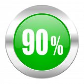 90 percent green circle chrome web icon isolated