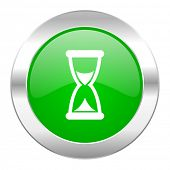 time green circle chrome web icon isolated