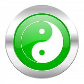 ying yang green circle chrome web icon isolated