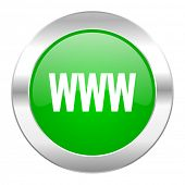 www green circle chrome web icon isolated