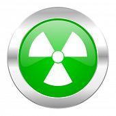 radiation green circle chrome web icon isolated