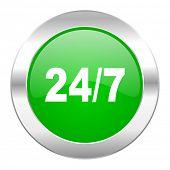 24/7 green circle chrome web icon isolated