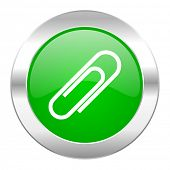 paperclip green circle chrome web icon isolated