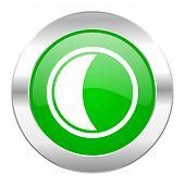 moon green circle chrome web icon isolated