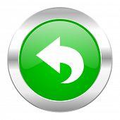 back green circle chrome web icon isolated
