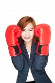 Asian Businesswoman Guard With Boxing Glove
