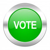 vote green circle chrome web icon isolated