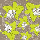 Seamless Floral Pattern Fantasy Blooming Green White Orchids On Brown Background.