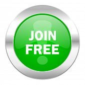 join free green circle chrome web icon isolated