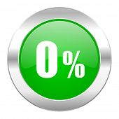 0 percent green circle chrome web icon isolated