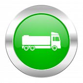 truck green circle chrome web icon isolated