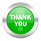 thank you green circle chrome web icon isolated