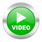 video green circle chrome web icon isolated