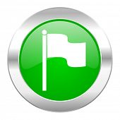 flag green circle chrome web icon isolated